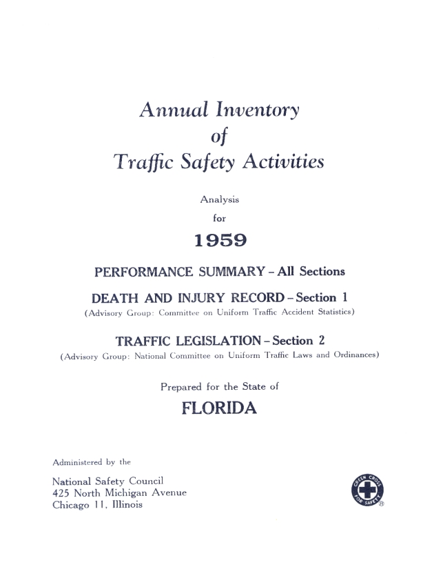 Letter from Annual Inventory of Traffic Safety Activities for 1959 - Page 1