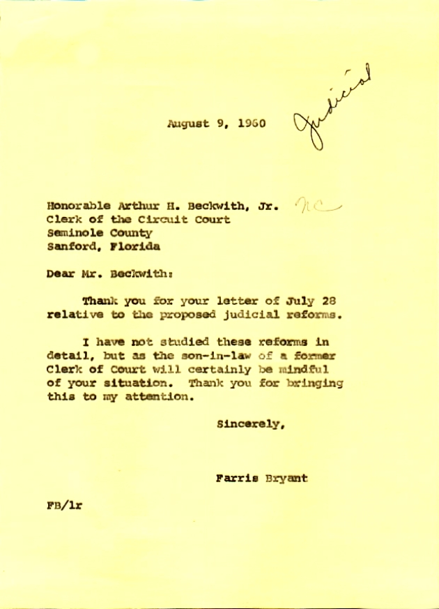 Letter to Arthur H. Beckwith, Jr. from Farris Bryant.  ( 1960-08-09 )