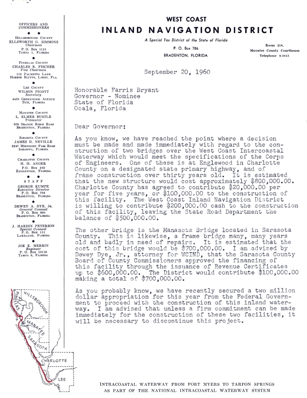 Letter to Farris Bryant from Ellsworth G. Simmons.  ( 1960-09-20 ) - Page 1