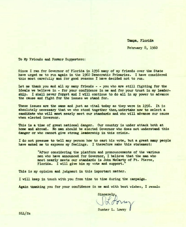 Letter to Friends and Former Supporters from Sumter L. Lowry.  ( 1960-02-08 )