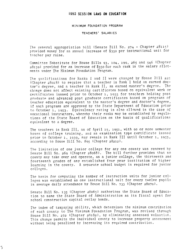 1953 Session Laws on Education - Page 1