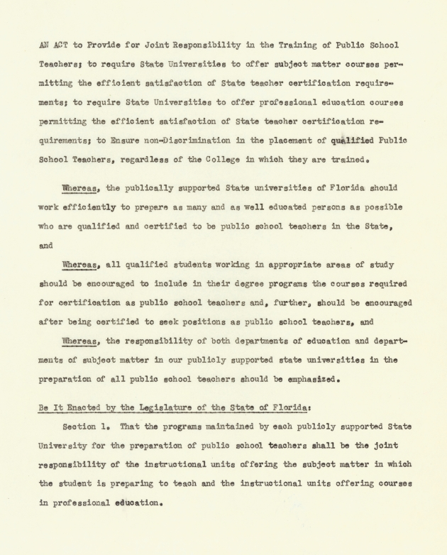 An Act to Provide for Joint Responsibility in the Training of Public School Teachers; - Page 1