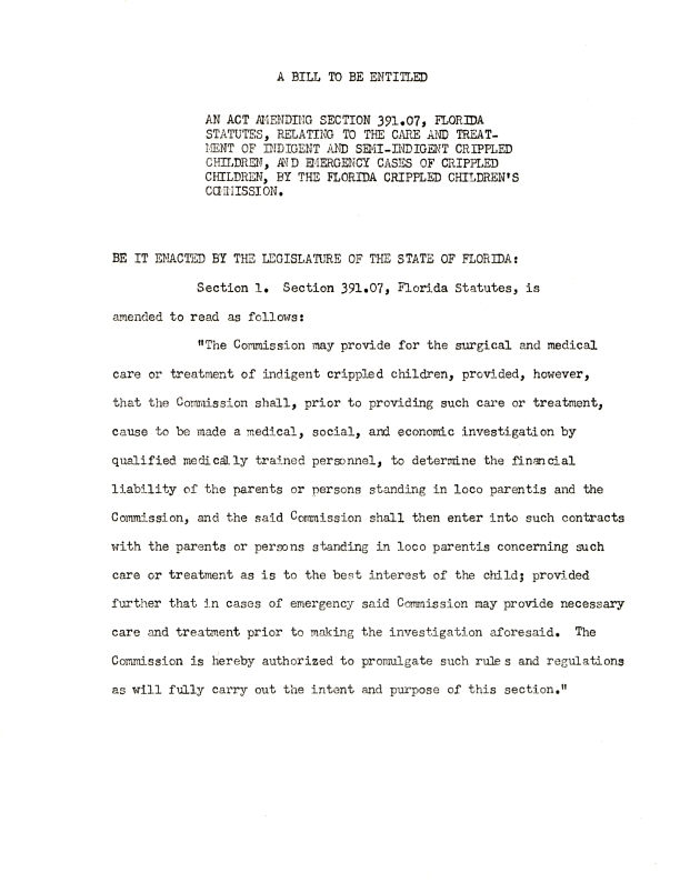 Bill - an act amending section 391.07