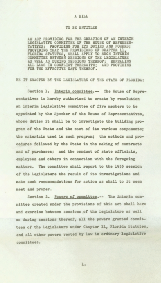 Bill Providing for the Creation of an Interim Legislative Committee - Page 1