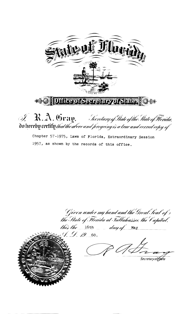 Certification of copy of Chapter 57-1975.  ( 1960-05-16 )