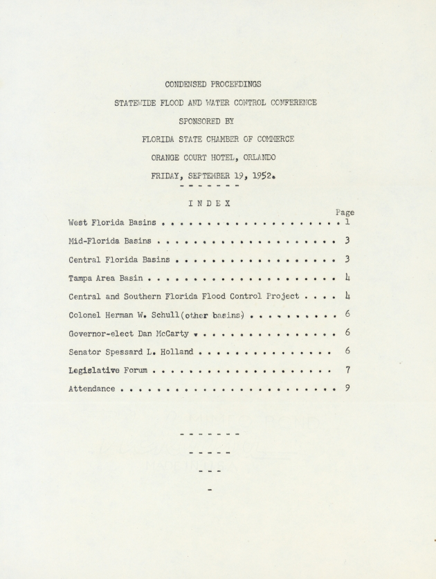 Condensed Proceeding Statewide Flood and Water Control Conference.  ( 1952-08-15 ) - Page 1