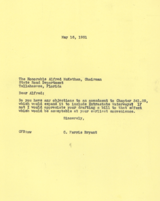 Letter to Alfred McKethan from C. Farris Bryant.  ( 1951-05-16 )