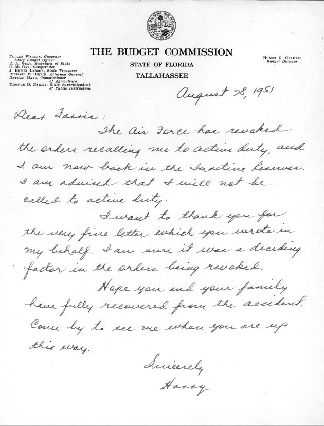 Letter to C. Farris Bryant from Harry G. Smith.  ( 1951-08-18 )