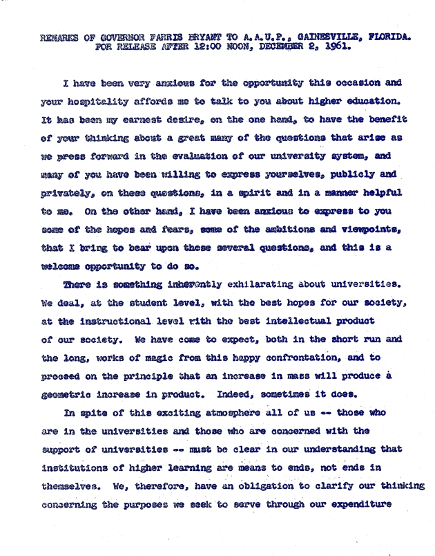 A.A.U.P., Gainesville Florida.  ( 1961-12-02 ) - Page 1