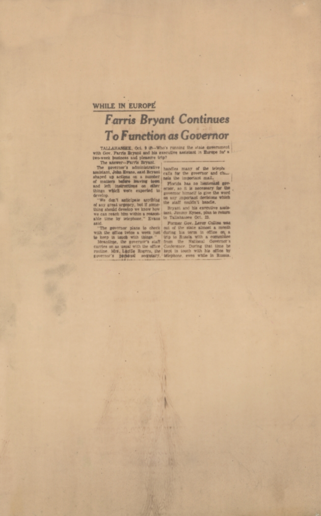 Article: Farris Bryant Continues To Function as Governor.  ( 1961-10-09 )