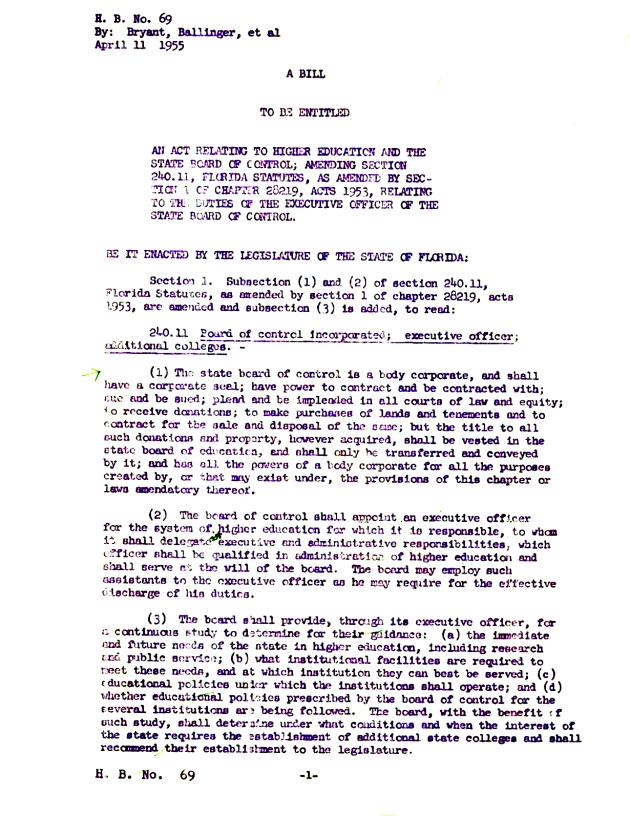 Bill - an act relating to higher education and the State Board of Control.  ( 1955-04-11 )
