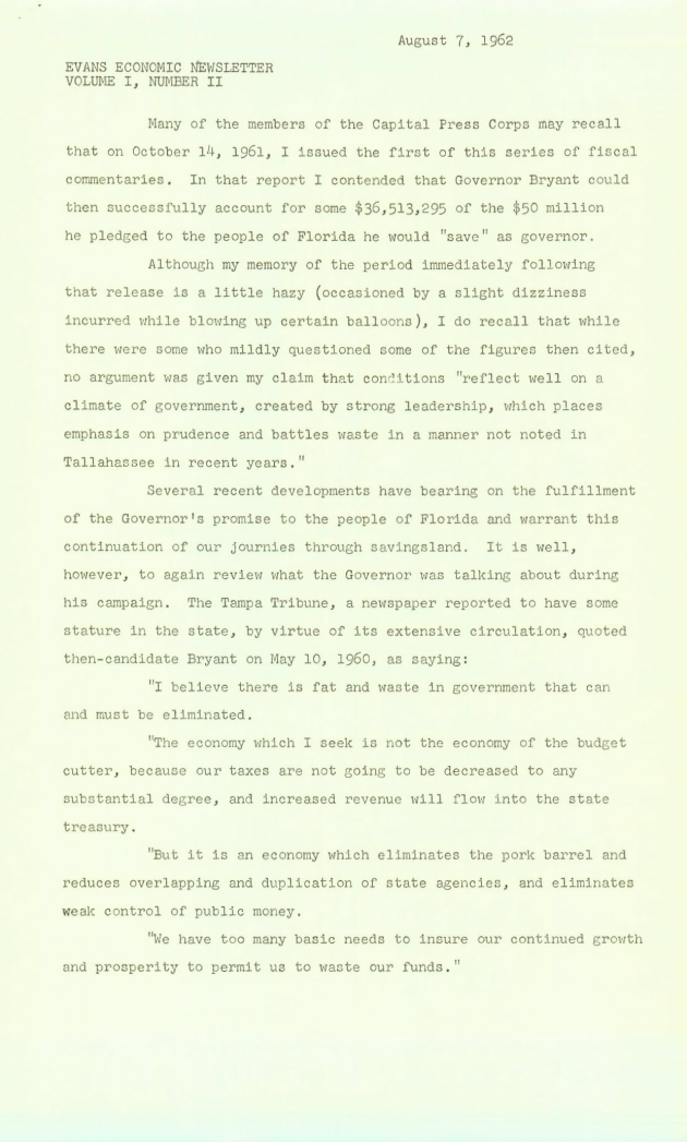 Evans Economic Newsletter, Volume 1, Number II.  ( 1962-08-07 ) - Page 1