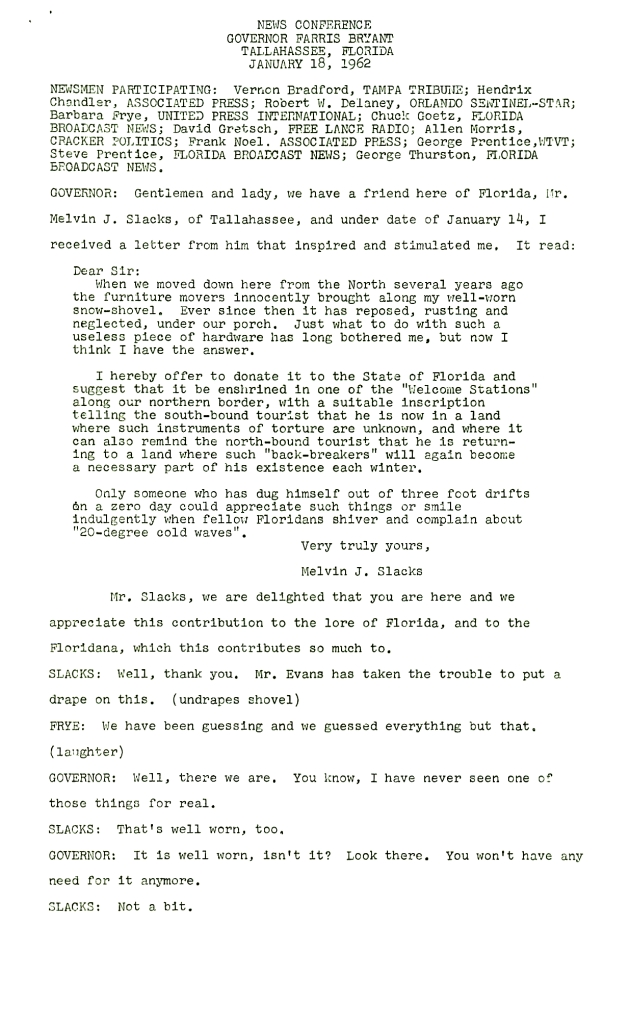 Gentleman and lady, we have a friend here of Florida....  ( 1962-01-18 ) - Page 1
