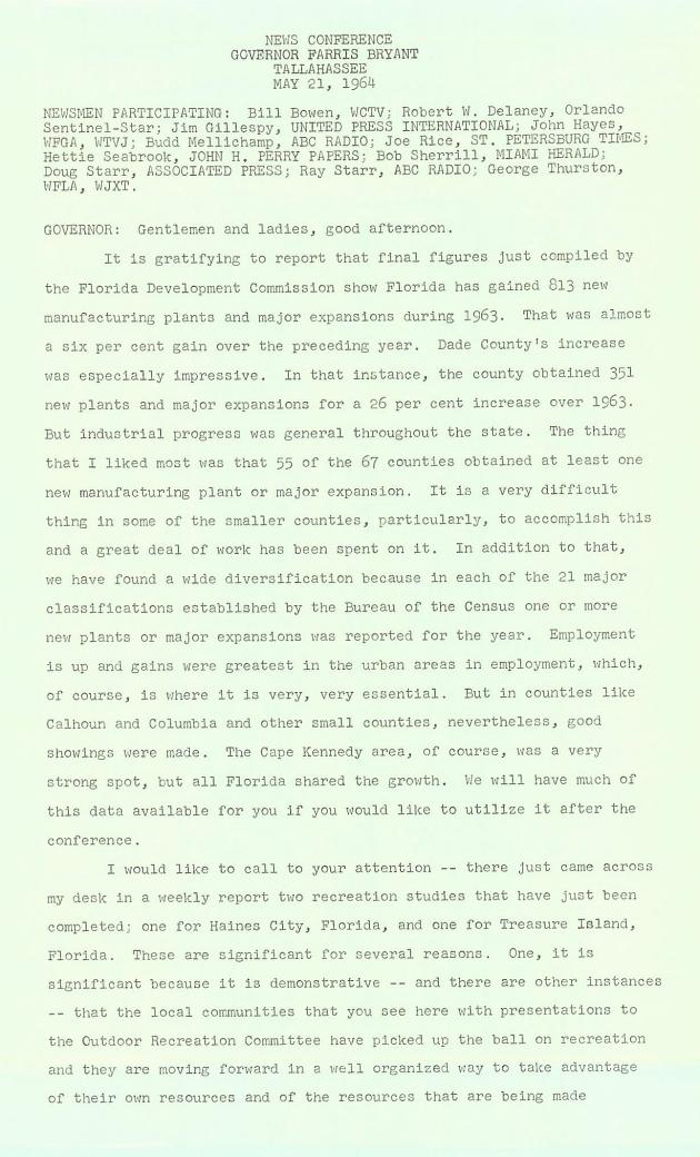Gentlemen and ladies, good afternoon..  ( 1964-05-21 ) - Page 1