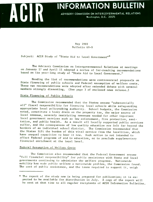 ACR Study of State Aid to Local Government.  ( 1969-05-01 ) - Page 1