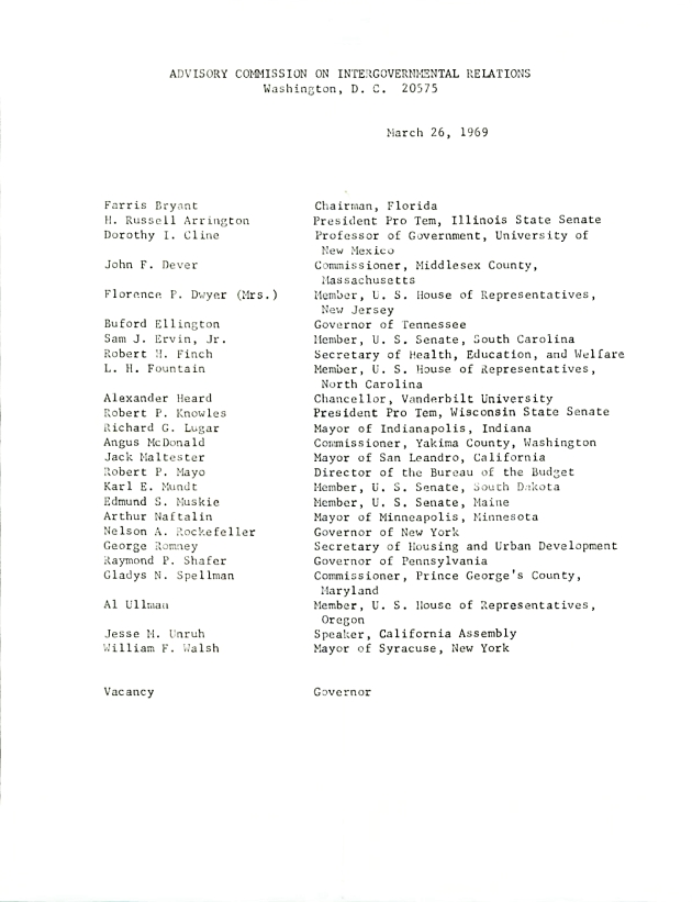 Advisory Commission on Intergovernmental Relations.  ( 1969-03-26 )
