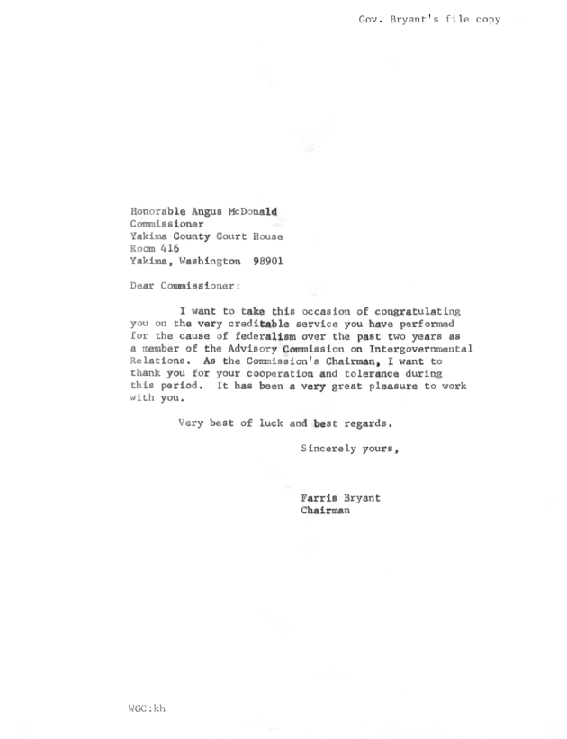 Letter to Angus Mcdonald from Farris Bryant