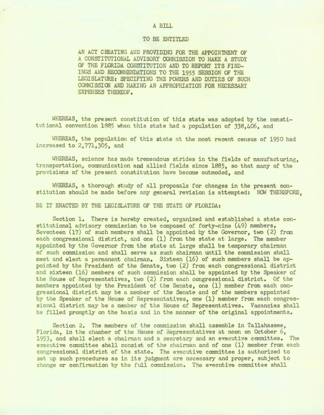 Bill - an act creating and providing for the appointment of a constitutional advisory commission to make a study of the Florida Constitution - Page 1