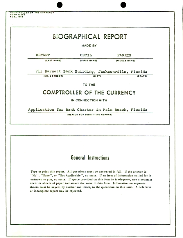 Biographical report made by Farris Bryant.  ( 1965-02-00 ) - Page 1