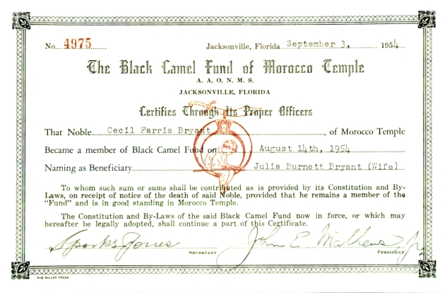 Black Camel Fund of Morocco Temple.  ( 1954-09-03 )