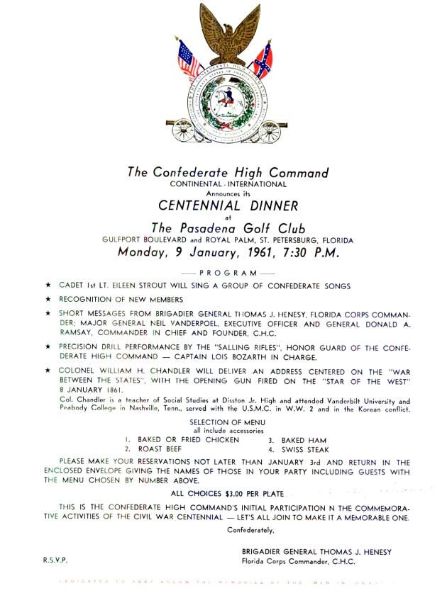 Centennial Dinner at The Pasadena Golf Club.  ( 1961-01-09 )