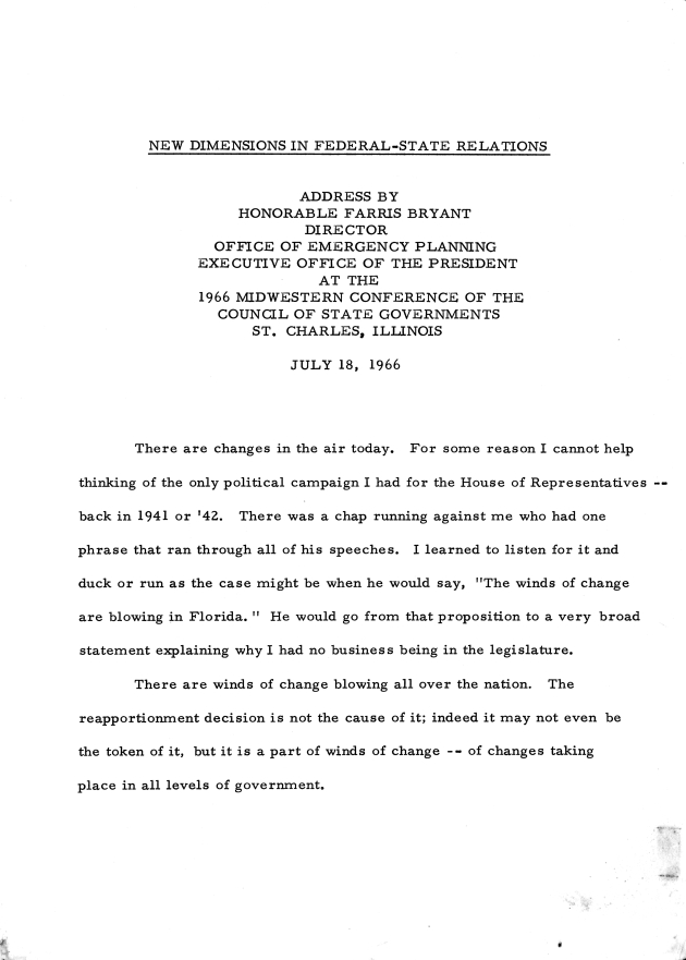 1966 Midwestern Conference of the Council of State Governments, St. Charles, Illinois.  ( 1966-07-18 ) - Page 1