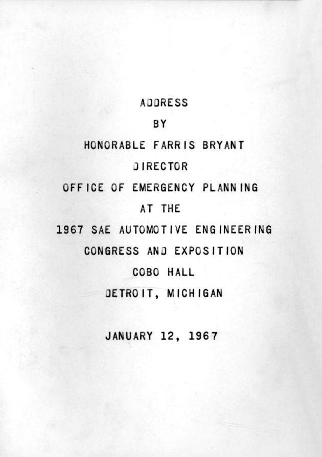 1967 SAE Automotive Engineering Congress and Exposition, Cobo Hall, Detroit, Michigan.  ( 1967-01-12 ) - Page 1