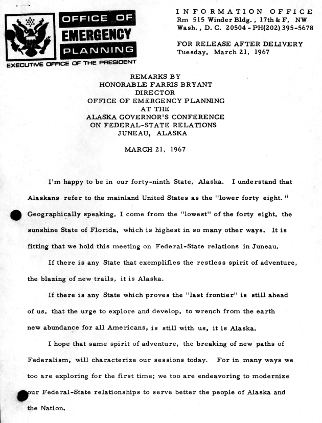 Alaska Governor's Conference on Federal-State Relations, Juneau, Alaska.  ( 1967-03-21 ) - Page 1