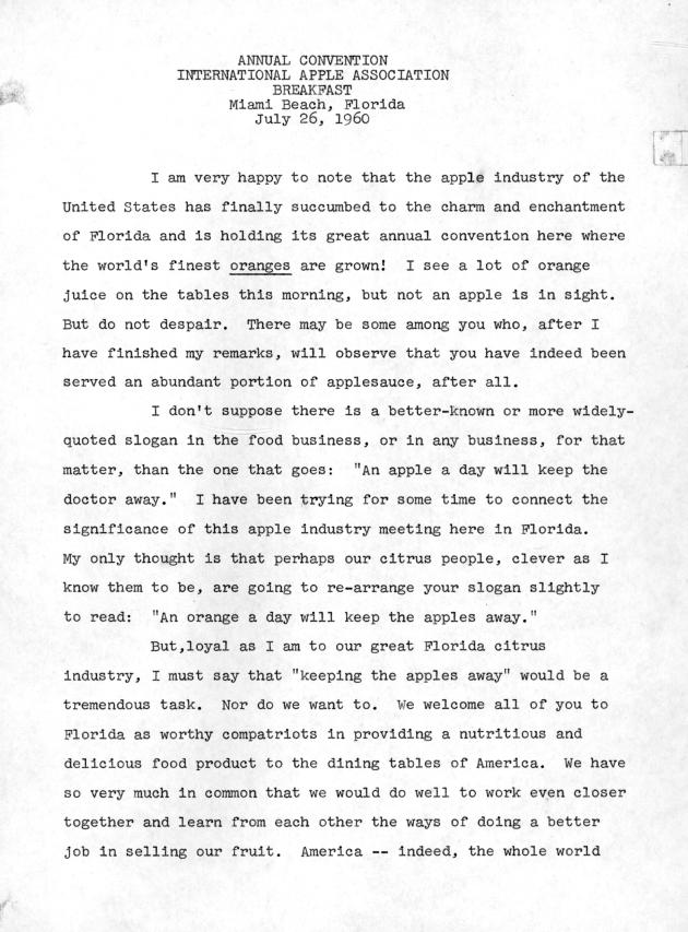 Annual Convention, International Apple Association, Breakfast, Miami Beach, Florida.  ( 1960-07-26 ) - Page 1