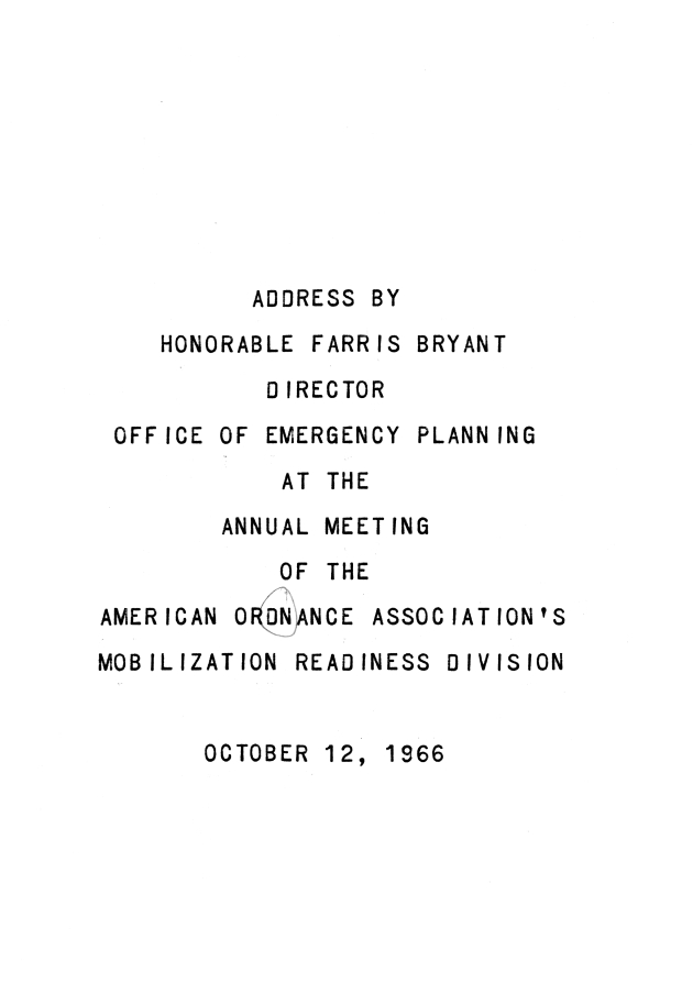 Annual Meeting of the American Ordinance Association's Mobilization Readiness Division.  ( 1966-10-12 ) - Page 1
