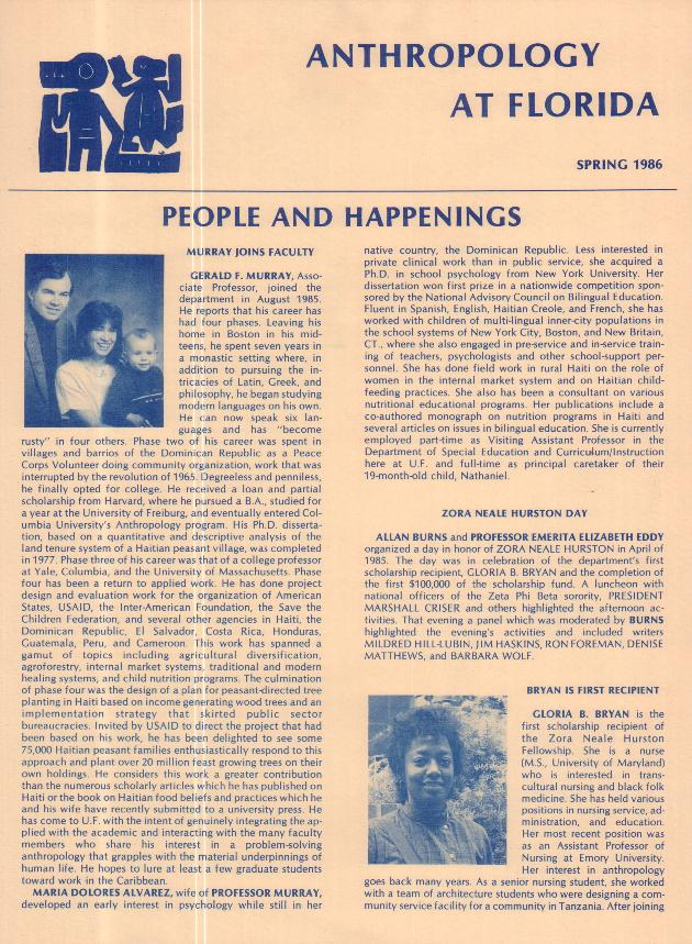 Anthropology at Florida. Spring 1986. - Page 1