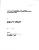 China-U.S. joint muddy coast research, part 3, in-situ suspended sediment measurement in Hangzhou Bay, China, data summary, 1985-89