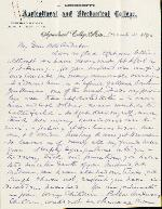 Lee, S.D. to Etta A. Anderson – Mar. 21, 1893 – Agricultural College, MS