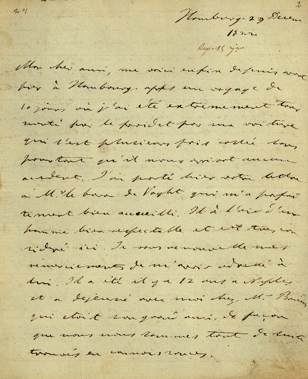 Letter to Comte Thibaudeau, Hambourg - Page 1
