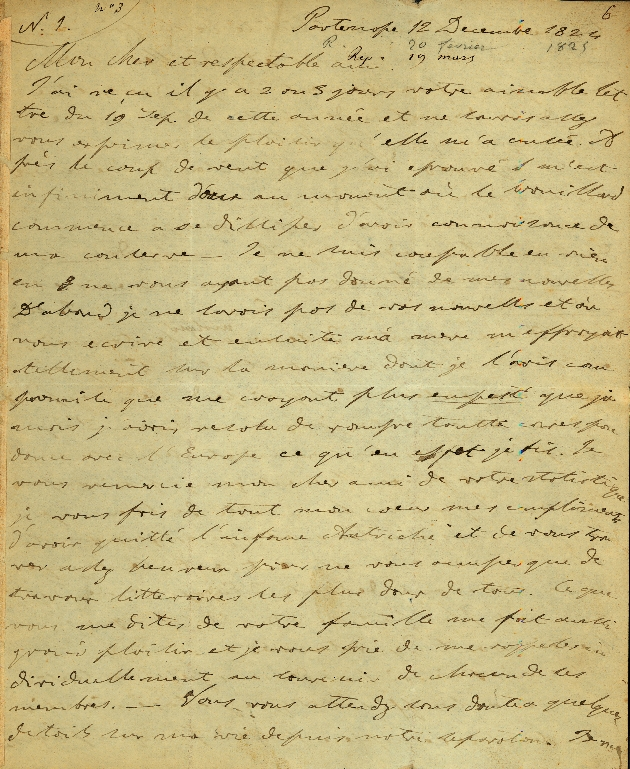 Letter to Comte Thibaudeau, Partenope - Page 1