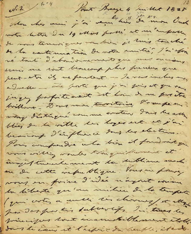 Letter to Comte Thibaudeau, Point Breeze - Page 1