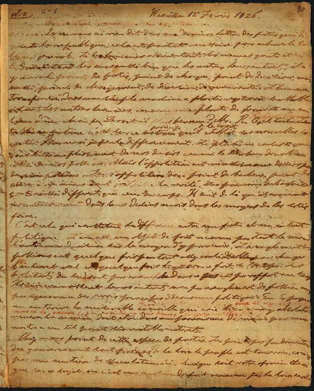 Letter to Comte Thibaudeau, Wascissa - Page 1
