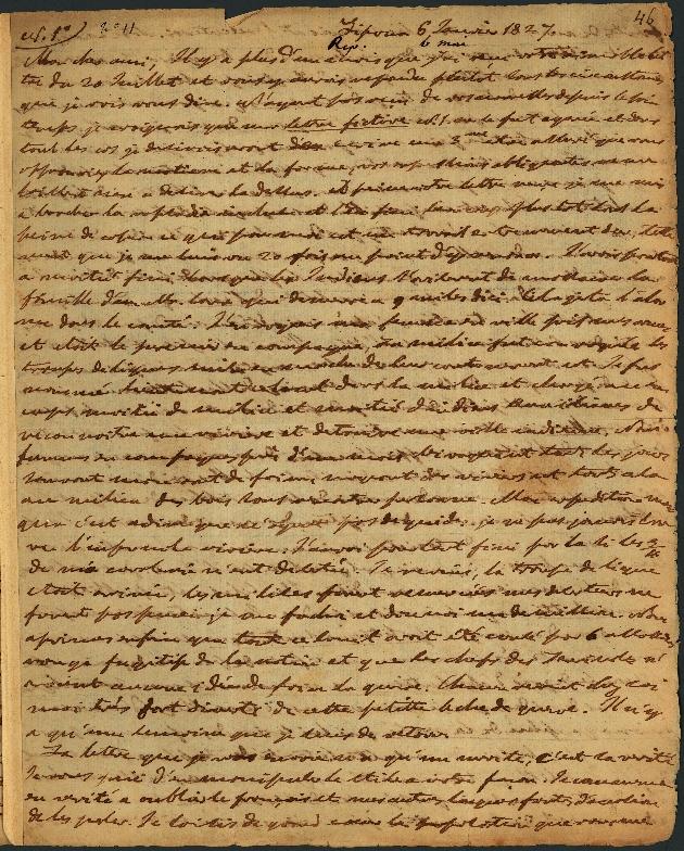 Letter to Comte Thibaudeau, Lipona - Page 1