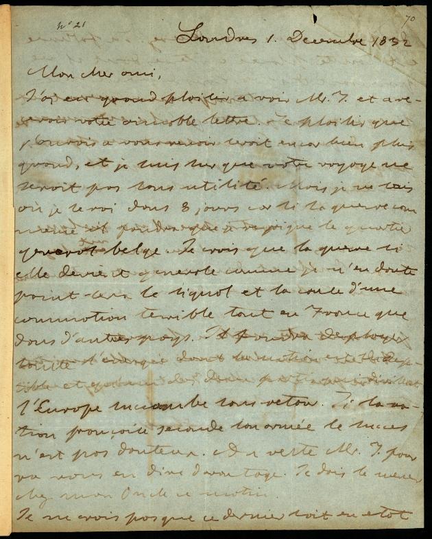 Letter to Comte Thibaudeau, Londres - Page 1