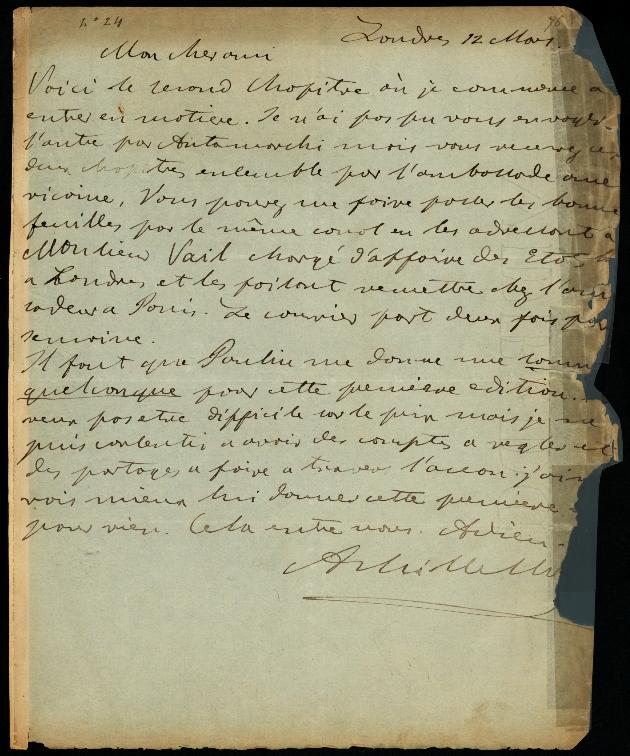 Letter to Comte Thibaudeau, Londres