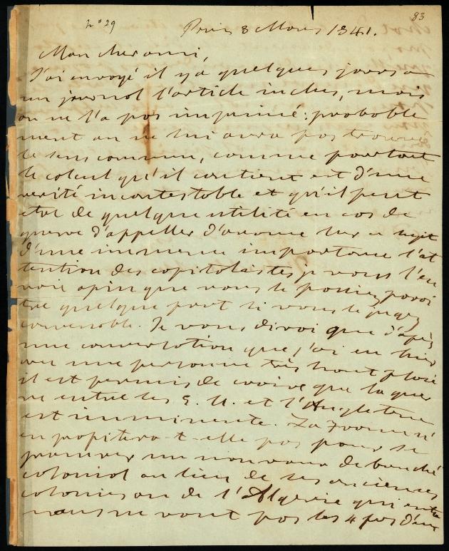 Letter to Comte Thibaudeau, Paris - Page 1