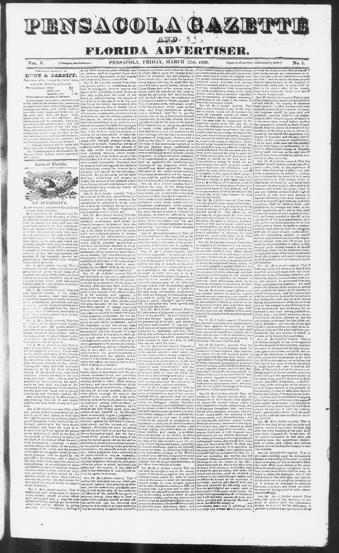 Pensacola gazette and Florida advertiser - Page 1