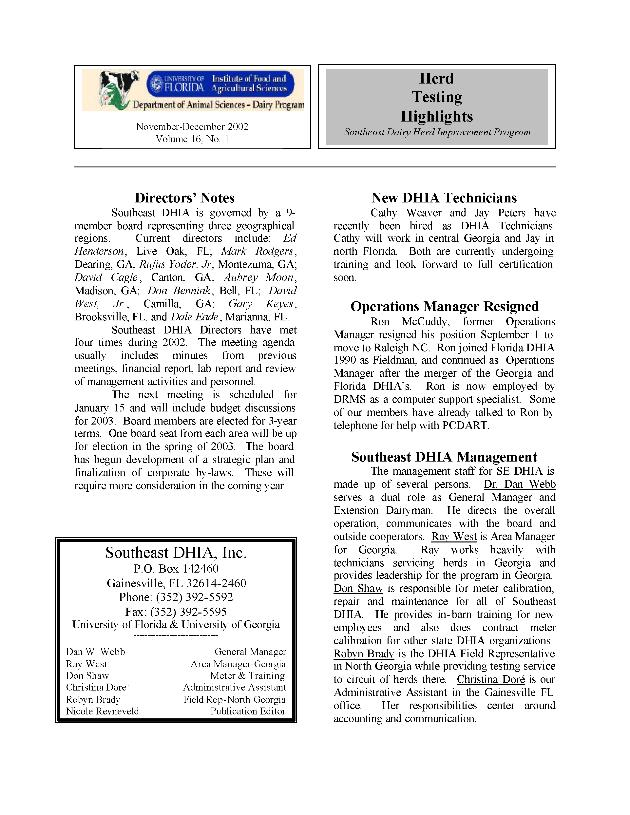 Herd testing highlights ; vol. 16 no. 1 - Page 1