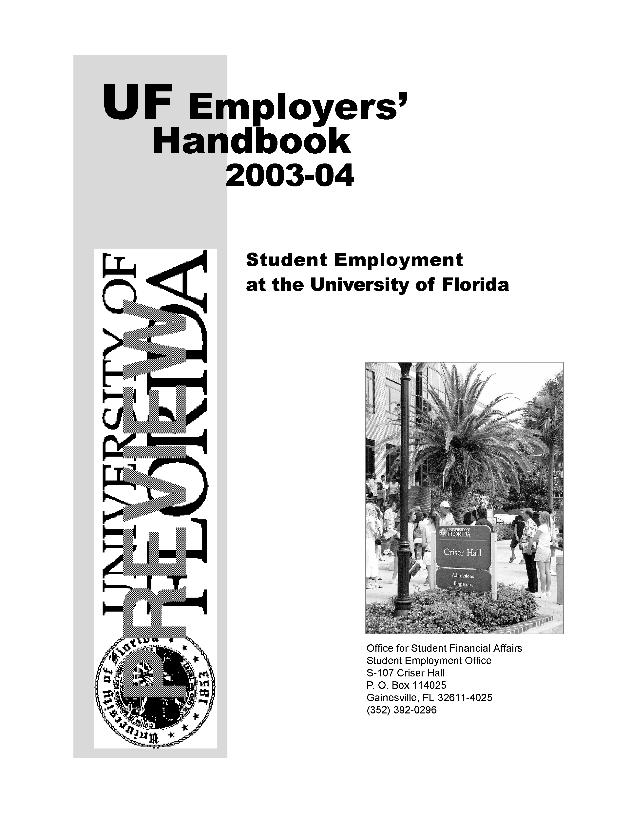 Student employer's handbook. 2003-04. - Front Cover