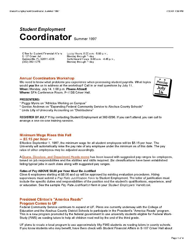 Student employment coordinator - Page 1