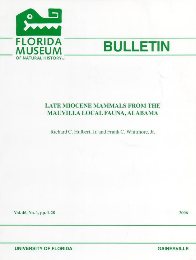Late miocene mammals from the mauvilla local fauna, Alabama - Page i