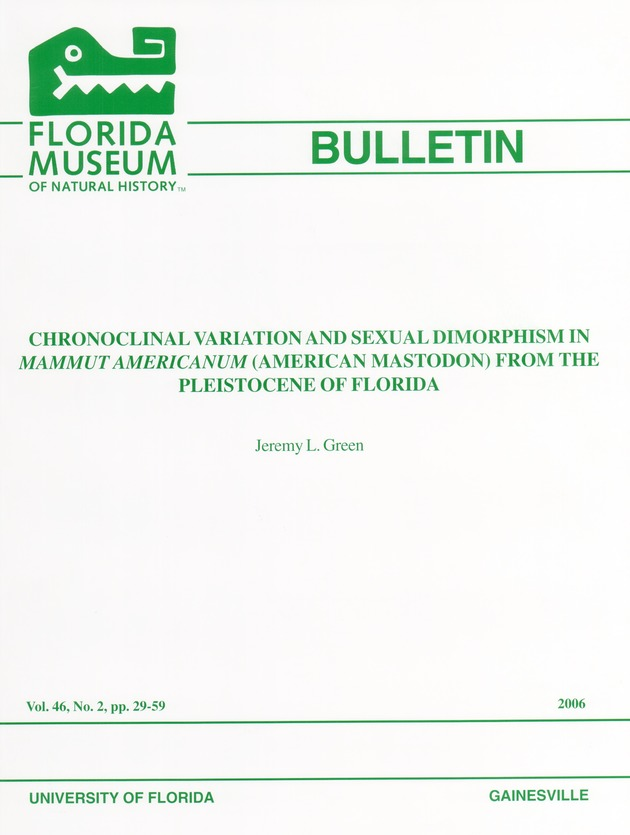 Chronoclinal variation and sexual dimorphism in mammut americanum (American mastodon) from the Pleistocene of Florida - Page i