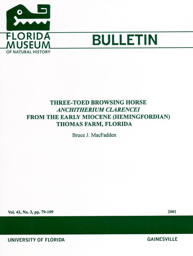 Three-toed browsing horse Anchitherium Clarencei from the early Miocene (Hemingfordian) Thomas Farm, Florida  - Page i