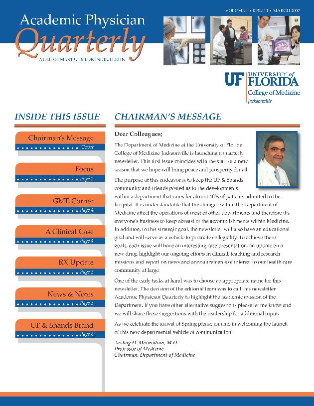 Academic physician quarterly. Vol. 1. Issue 1. - Page 1