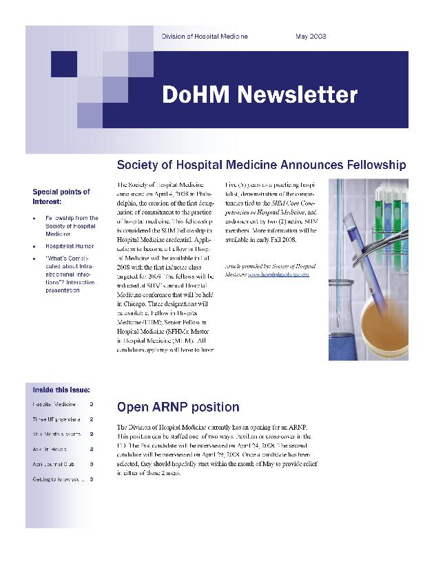 DoHM newsletter. May 2008. - Page 1